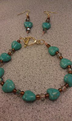 Bead earring and wire bracelet set teal heart and by DoubleDzBeadz, $5.00  nice set for summer,graduation gifts or prom