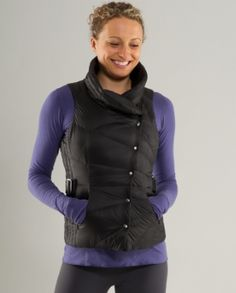 Lululemon Get Down Vest. Love wearing this OVER my scuba hoodie for ultimate warmth. This is also completely reversible. SCORE!