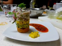 A cooking class in Playa del Carmen - Timbal of Ceviche, Mango, Avocado and Sweet Potato with chipotle aliño Ceviche, Cooking Classes, Chipotle, Sweet Potato, Avocado, Mango, Mexico, Potatoes, Dishes