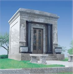 West Memorials - Family estate mausoleum with statues, urns and stairs 2017 Design, Beautiful Birds, Granite, Temple, Stairs, Memories, Pictures, Funeral, Unique