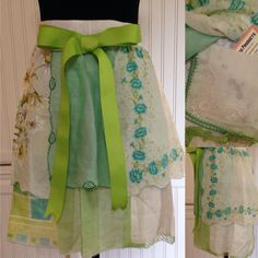 Vintage half apron handkerchief shabby chic Aqua lime teal white lime grosgrain ribbon extra long ties embroidered hanky hidden pockets by Littlebirdproductset on Etsy