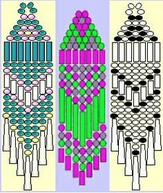 Beading weaving earring patterns- Also links for tutorials to 'How to increase & decrease Brickstitch' Beaded Earrings Patterns, Beading Patterns Free, Seed Bead Patterns, Weaving Patterns, Bracelet Patterns, Mosaic Patterns, Art Patterns, Crochet Patterns, Color Patterns