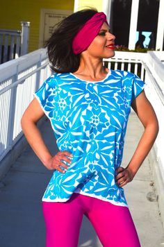 VibrantBlue  Mexican Hand Embroidered  Blouse / Huipil / Tunic from  Mexico #Handmade #Blouse