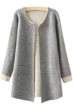Jewel Neck Color Block Long Sleeve Cardigan GRAY: Sweaters | ZAFUL