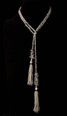 SALE 52 Gemstone Lariat with Pearl tassels by SaintBarbarasWish, $245.00