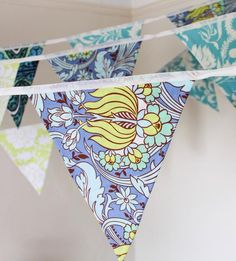 Blue & green bunting aqua floral fabric flags surf wedding   Etsy Surf Wedding, Wedding Bunting, Party Bunting, Wedding Hire, Blue Bunting, Amy Butler Fabric, Rainbow Theme, Reception Decorations, Floral Fabric
