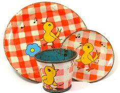 30's Tin Toy Tea Set with Singing Birds  by Ohio Art Co