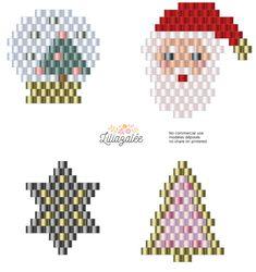 bead weaving patterns for bracelets Seed Bead Patterns, Peyote Patterns, Beading Patterns, Mosaic Patterns, Loom Patterns, Jewelry Patterns, Jewelry Ideas, Beaded Christmas Ornaments, Christmas Earrings