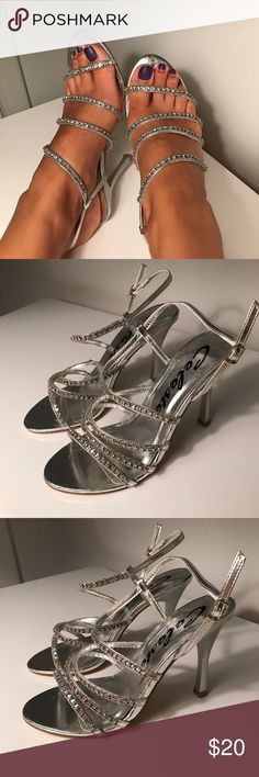 Silver Rhinestone Strappy Heels  Brand new in the box but there is glue that's showing and that's why this pair is reduced. The glue is not visible on the foot when worn. Approximately 4 inch heel. Fahrenheit Shoes Heels