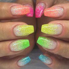 Neon rainbow nails