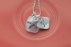 Hand Stamped Initial Pendant with White Sea Glass and Star Fish Charm by TheHomePort on Etsy