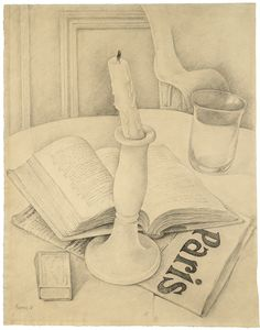 Diego Rivera (Mexican, 1886-1957), Still Life with Book and Candle, 1918. Pencil on paper, 37.8 × 29.5 cm.
