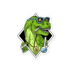 T-Rex Dinosaur Weed Vinyl Sticker - Stoner Hippie Sticker - Cannabis Decal - Marijuana Ganja Sticker - Funny Stoner Gifts - Weed Lover Gift Cannabis, Marijuana Art, Weed Stickers, Funny Stickers, Trippy Painting, Stoner Gifts, Stoner Art, Weed Art, Diy Canvas Art