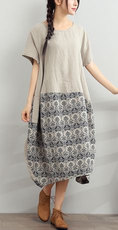 2017 gray summer linen dress jacquard loose sundress short sleeve casual dresses