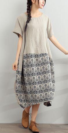 2017 gray summer linen dress jacquard loose sundress short sleeve casual dresses