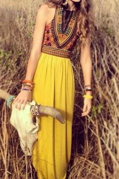 Bohemian Style Sleeveless Round Neck Printed Dress For Women