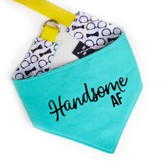 Dog Clothing Handsome AF Dog Bandana - Handsome AF Dog Bandana™ is artisan sewn by Ripley Rue with navy cotton fabric and a teal hem. Our original HANDSOME AF bandana with a new look! Classic tie-on bandana comes in two sizes, small Dog Separation Anxiety, Dog Anxiety, Dog Grooming Supplies, Dog Supplies, Dog Training Classes, Training Your Dog, Bandanas, Old Dogs, Dog Bandana
