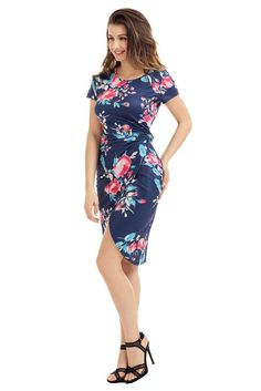 Chic Knot Side Wrapped Knee-length Navy Blue Floral Dress MB61563-5 – ModeShe.com