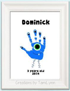 Monster Handprint Art - Personalized Baby Nursery, Child's Room,  Boys Room Decor, Mother's Day, Grandparent gift