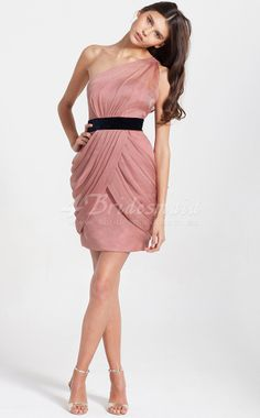 Sheath/Column One Shoulder Chiffon Short/Mini Nude Pink Bridesmaid Dresses(BD102)