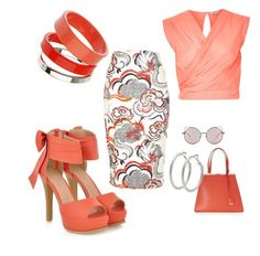 """""""Orange"""" by deirdreschoice on Polyvore featuring JY Shoes, River Island, Dorothy Perkins, Matthew Williamson, Fendi and M&Co"""