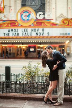 Chicago Theater Engagement Photo - We love this creative engagement photo using this amazing old signage!