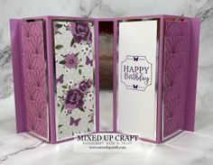 Fancy Fold Cards, Folded Cards, Trifold Shutter Cards, Cascading Card, 3d Paper Crafts, Pattern Paper, Design Crafts, Gate, Card Ideas