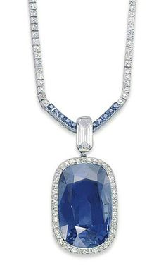 A BELLE EPOQUE SAPPHIRE AND DIAMOND NECKLACE, BY CARTIER  The cushion-shaped sapphire set in a pavé-set diamond surround, with a rectangular-cut diamond surmount, to the calibré-cut sapphire and single-cut diamond line chain, four additional chain links, 1910s, 48.0 cm, with French assay marks for gold, in red leather fitted Cartier case