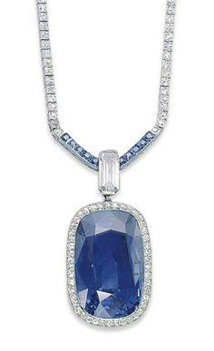 Belle Epoque Sapphireand and Diamond Necklace, Cartier, ca. Cartier Jewelry, Sapphire Jewelry, Jewellery, Sapphire Diamond, Edwardian Jewelry, Antique Jewelry, Vintage Jewelry, Art Deco Jewelry, Fine Jewelry