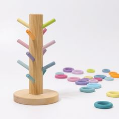 Grimm's sorting helper for the building rings has 12 rainbow dowels for sorting and colour pairing games. It's also brilliant for storing Grimm's 24 rainbow coloured building rings. Size: H = 25cm, Ø = 4/13cm Age: 3+ Hand-crafted in Germany PLEASE NOTE: Only available to UK & Ireland Grimm's Toys, Diy Toys, Diy Waldorf Toys, Diy Montessori Toys, Bel Art, Natural Toys, Natural Baby, Wood Toys, Wood Kids Toys