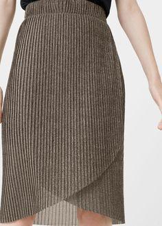 Metallic pleated skirt   MANGO