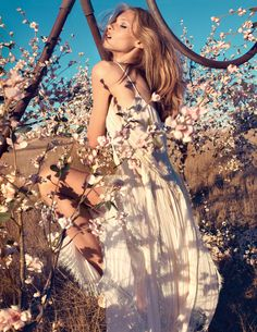 One of my most favorite photographers, Camilla Akrans shot the new Spring 2013 ad campaign for Italian brand Blumarine. Anna Selezneva for Blumarine Model Anna Selezneva stars in this romantic venture into flowy maxi dresses,… Anna Selezneva, Foto Fashion, Fashion Shoot, Editorial Fashion, Fashion Beauty, Girl Fashion, Fashion Photography Inspiration, Photoshoot Inspiration, Style Inspiration