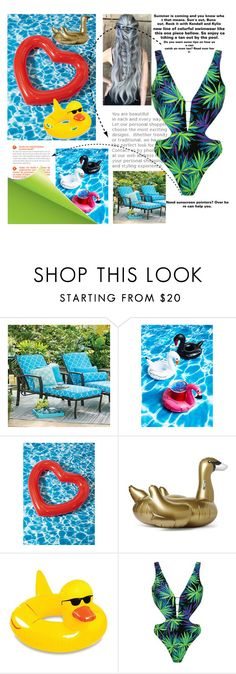 """Fun in the Sun "" by akinfenwakiki ❤ liked on Polyvore featuring Improvements, Sunnylife, Big Mouth, Topshop and poolfloats"