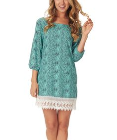 Look at this Pinkblush Mint Green Etch Scoop Back Shift Dress on #zulily today!