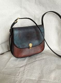 Hand painted small leather French made vintage bag.
