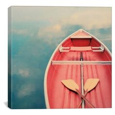 iCanvas 'Floating on a Cloud - Alicia Bock' Giclee Print Canvas Art ($49) ❤ liked on Polyvore featuring home, home decor, wall art, red, ink painting, textured wall art, canvas home decor, canvas painting and red painting