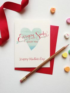 Everyone Sucks Except You | snarky hand lettered and watercolor valentine's day card by Sable and Gray Paper Co. | Traverse City, MI