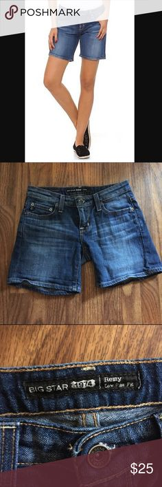 """Big Star Remy low rise size 24 shorts Big Star Remy low rise size 24 shorts Bundle deals available (I carry various sizes and brands): 2 items 10% off, 3 items 15% off, 4 items or more 20% off NOTICE: please refer to top post for """"Closet Update."""" I am traveling until the end of Sept. for work and have someone else mailing items weekly and item specific question may or may not be answered in a timely manner within that timeframe. So sorry for any inconveniences. Big Star Shorts Jean Shorts"""