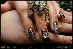 Leopard Print Bling Artificial Nail Art by KaitlinsKreationsart, $19.80
