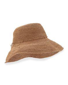 """Provence 12"""" Brim Raffia Hat, Nougat"""