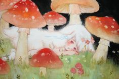 Pretty Art, Cute Art, Aya Takano, Mushroom Art, Art Hoe, Art Sketchbook, Aesthetic Art, Wall Collage, Art Inspo