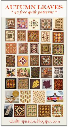 As of this September post, autumn is on the way in the Northern Hemisphere. We've collected 48 free patterns for leafy quilts and for the wa...