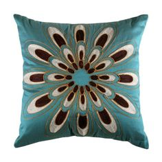 Found it at Wayfair - Jovi Home Passiflora Cushion in Teal Teal Pillows, Accent Pillows, Decorative Throw Pillows, Decor Pillows, Colorful Pillows, Beige Couch, Brown Couch, Red Sofa, Muebles Color Chocolate