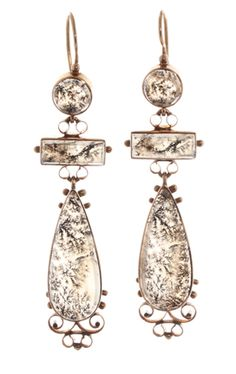 Early 19th century moss agate earrings.  These would have been elegant daywear in the 1820's. The light passes through them and highlights the beautiful patterns in the agate. 4.5