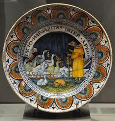 Majolique de Pesaro Plat : «Le Renard prêchant les oies» Faïence de PESARO vers 1490-1500
