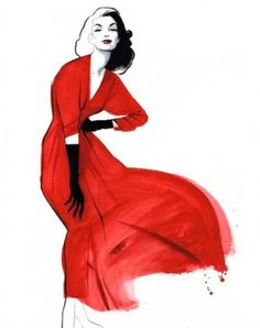 Fashion sketches by Fernando Vicente - This illustration portrays beautiful, assured woman, may be even an actress. My imagination brings up Marilyn Monroe, but instead of the white dress here she's got a red one. And of course, on this sketch we see classical amazing but simple dress with long black gloves.