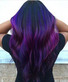 Purple Ombre Hair Human Hair Extensions Clip in Extensions image 3 Dark Purple Hair Color, Ombre Hair Color, Hair Color Balayage, Cool Hair Color, Purple Wig, Dark Ombre, Blue Ombre, Hair Highlights, Light Purple