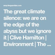 The great climate silence: we are on the edge of the abyss but we ignore it | Clive Hamilton | Environment | The Guardian
