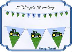 Papiergirlande Traktor,Wimpelkette Geburtstag von Jasuki auf DaWanda.com
