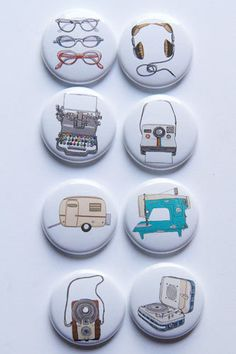 These are one inch flair buttons. THere are 8 buttons in this set. Graphics by Sooart here on Etsy.
